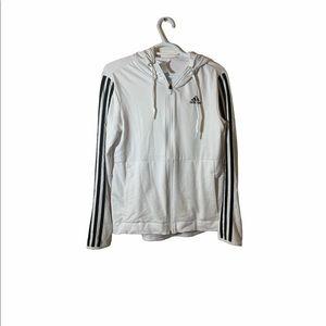 Adidas White Zip Up Hoodie